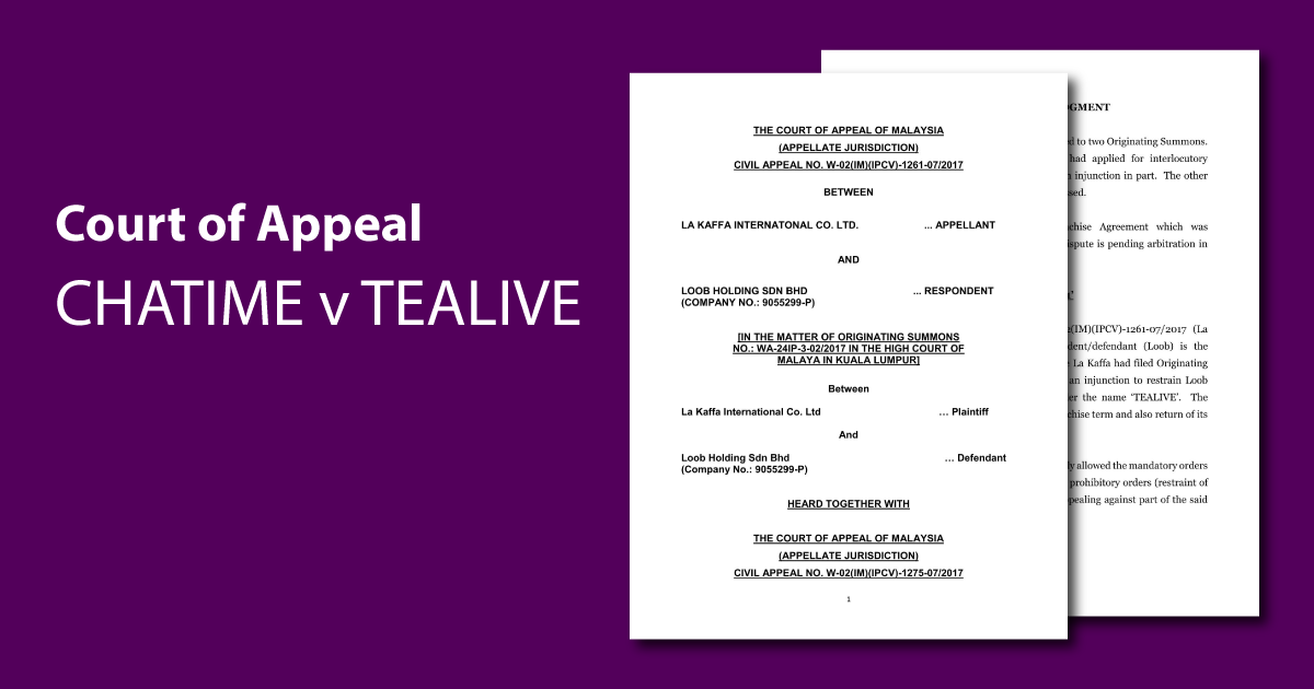 Court of Appeal rules in favour of Chatime in Tealive dispute. Could Tealive have to close down?